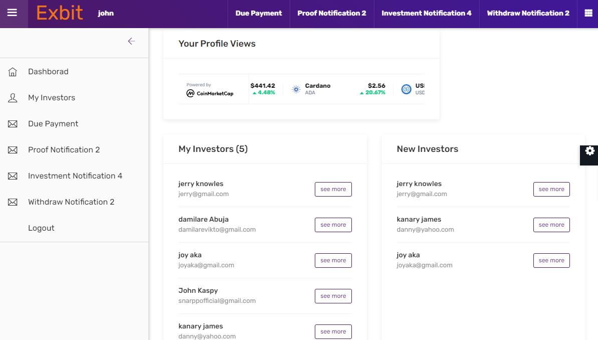 Website For Investment Investment Website Pro For Multipurpose Tracking Of Investors Earning