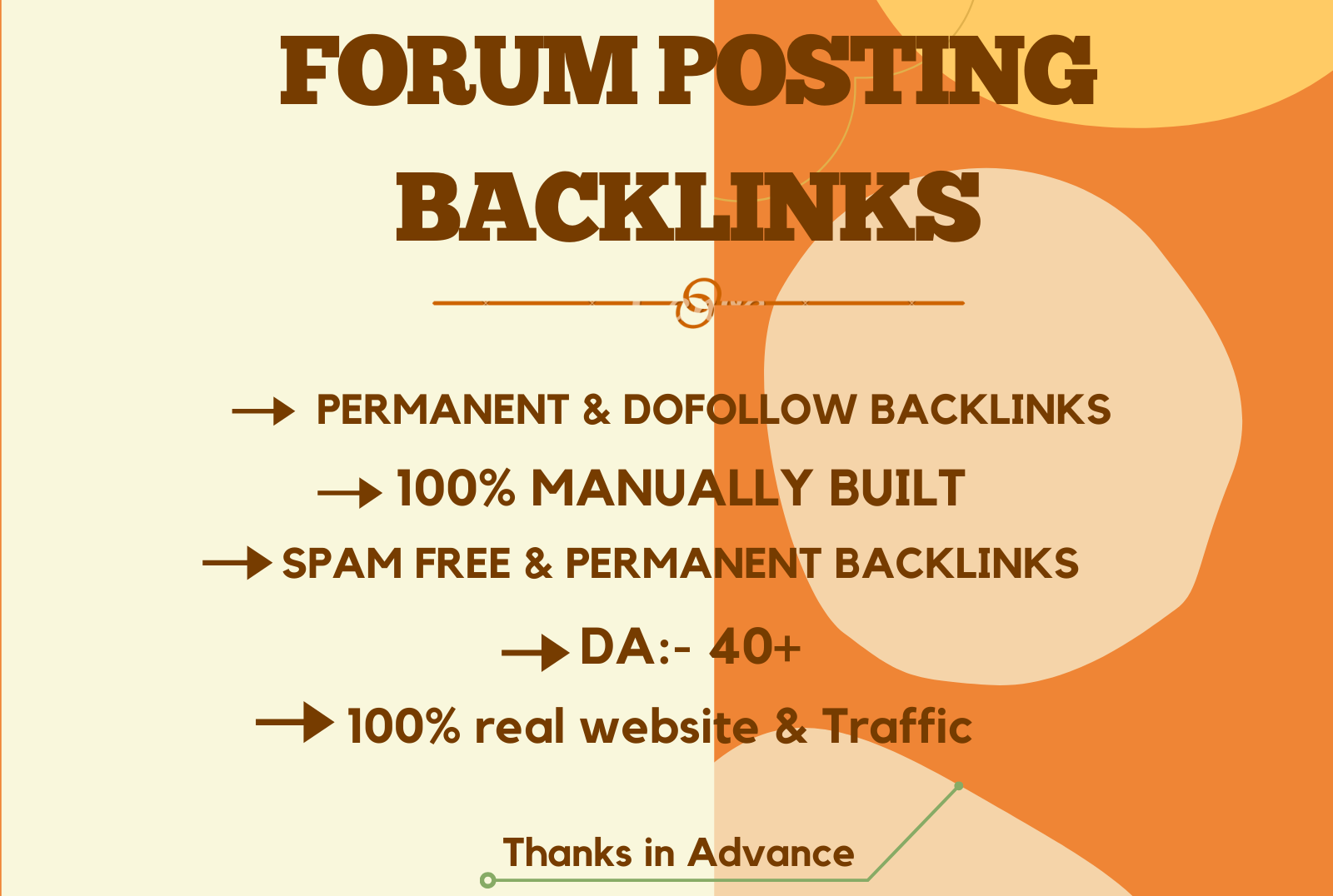 I will do 30 high quality do-follow forum posting backlinks.
