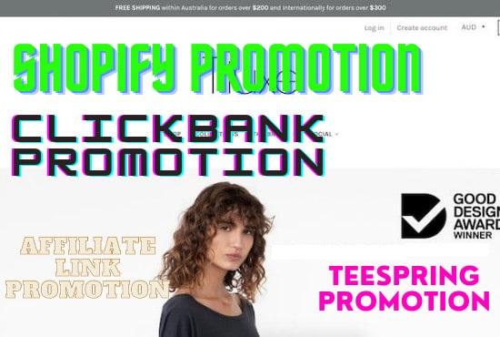 I will do usa affiliate referral link promotion,  clickbank,  affiliate link promotion marketing