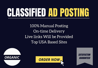 I will post your ads on 50 top classified ad posting site