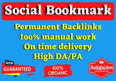 I will create 50+ high authority Social Bookmarking Backlinks manually