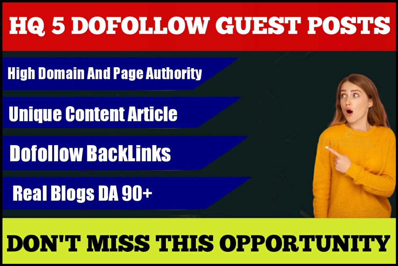 Write and publish guest post on DA 90+ Sites