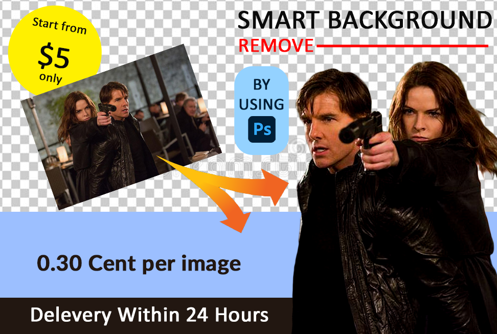 I will do any kind of background remove within 24 hours