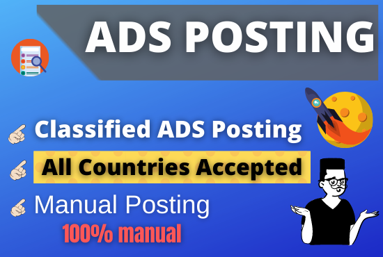 I Will Give you 10 classified ads posting service with live link report any country.