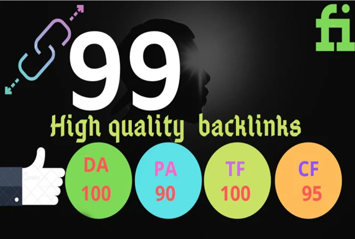 I Will Provide YOU 99 High Authority Unique SEO Backlinks ON tf100 da100 sites