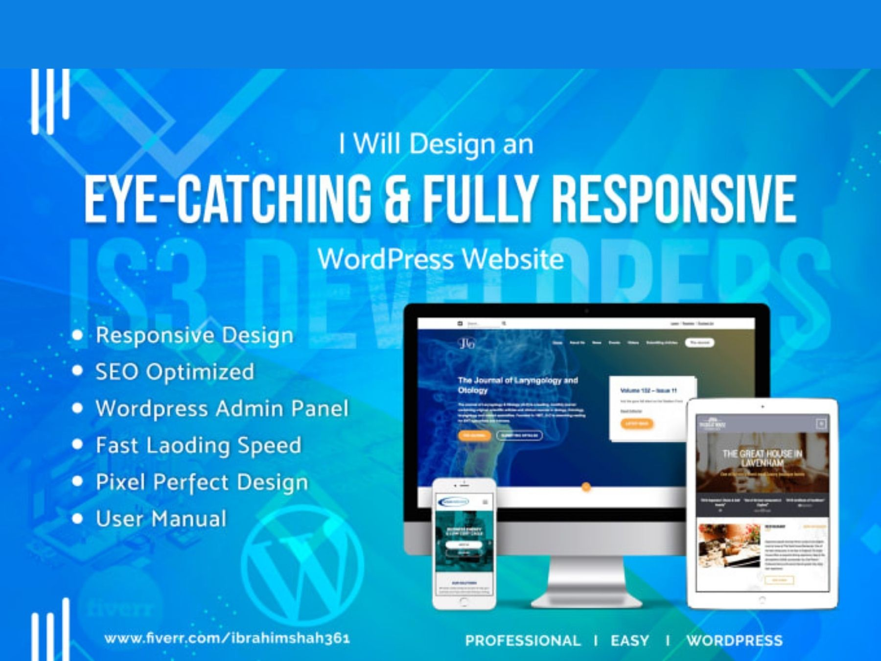 I will be design and customize your wordpress website