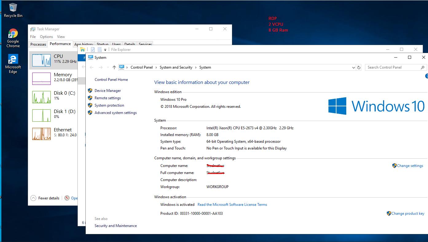 Windows RDP VPS 8GB Ram 30GB SSD 2vCPU