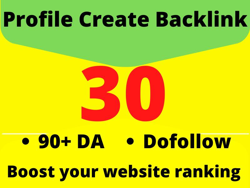 Dofollow 90+DA 30 Perfectly Profile Create Backlinks