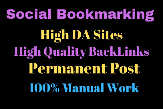 20 social Bookmarking High Da Sites with Permanent Backlinks