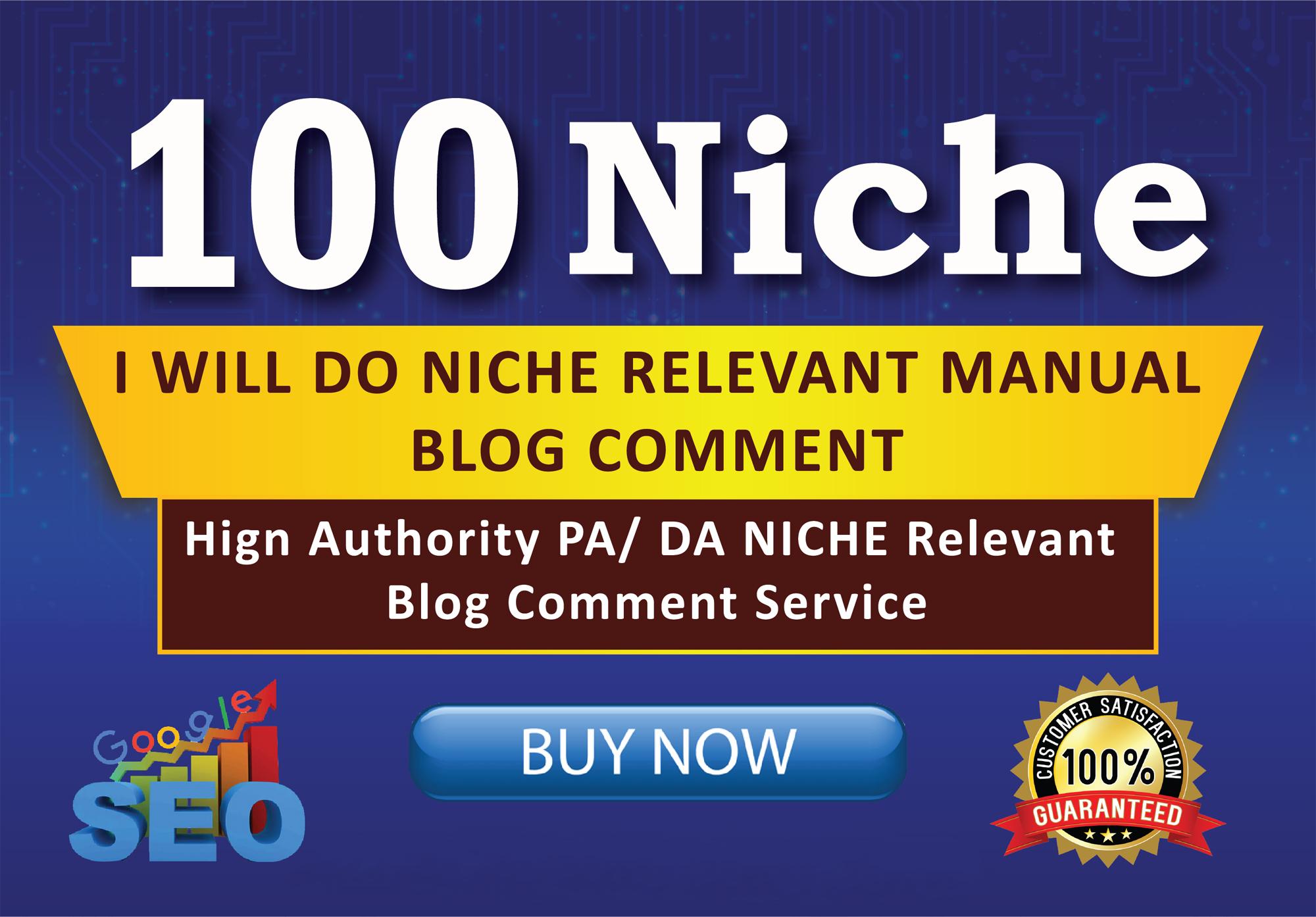 I WILL 100 Niche Manually relevant Blogcoment