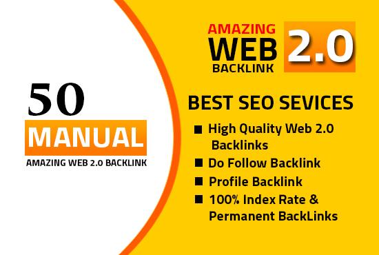 I will do 50 High DA PA web2.0 high Quality permanent Backlinks