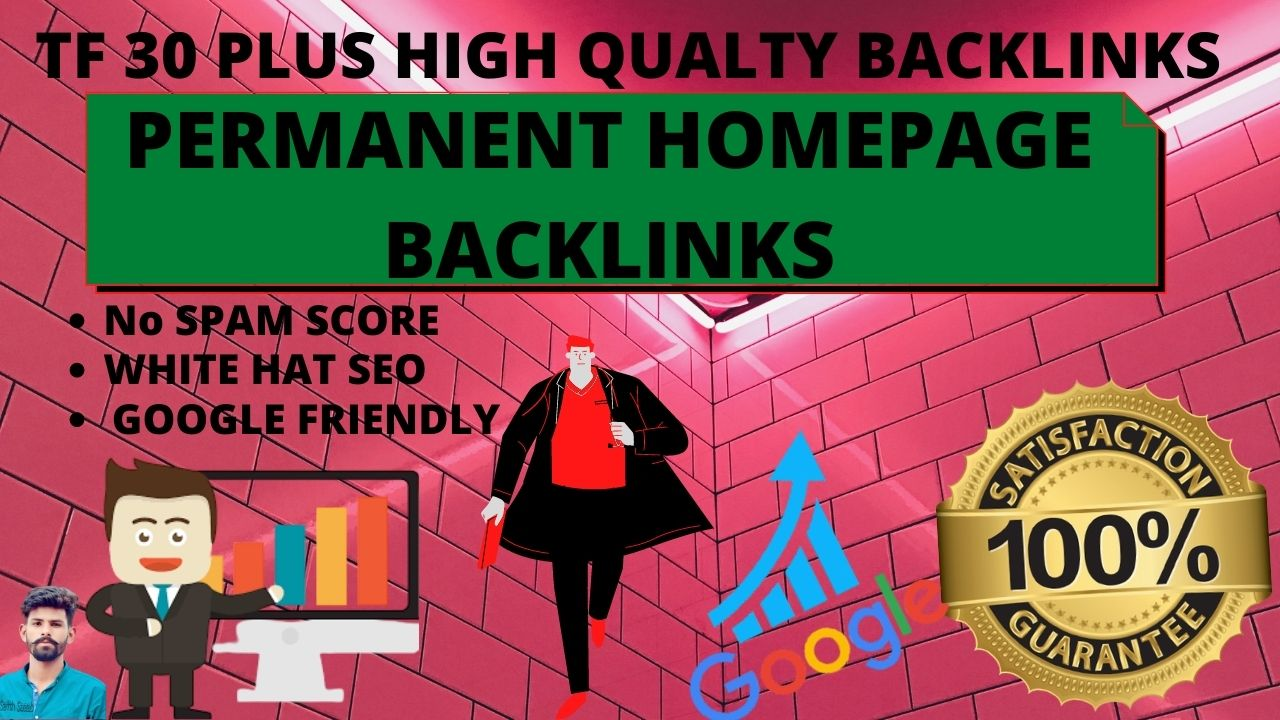 I will make 30 Backlinks of 30 plus high tf permanent homepage backlinks for increase domain rating