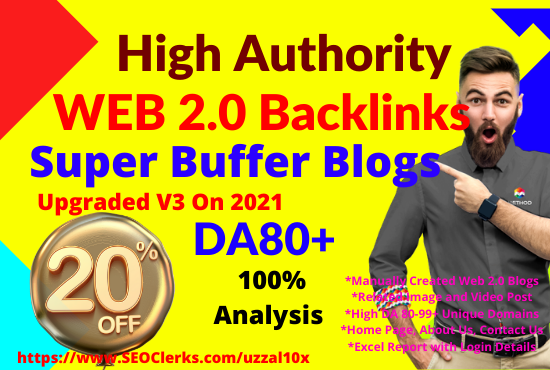 20 High Quality Web 2.0 Blogs Network Homepage Backlinks