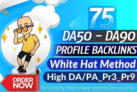 75 high domain authority SEO profile backlinks