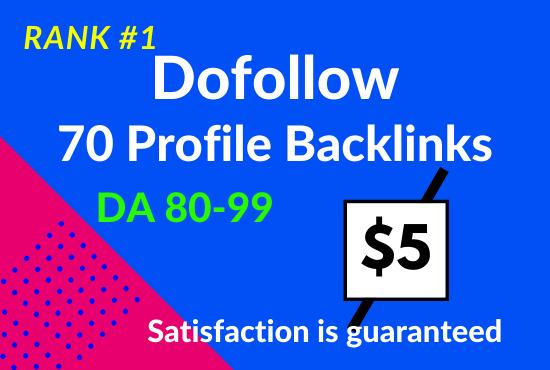 I will do 70 high DA 80+ profile backlinks manually for SEO ranking