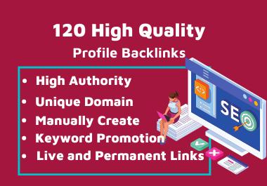 120 HQ Profile Backlinks With Unique Domain