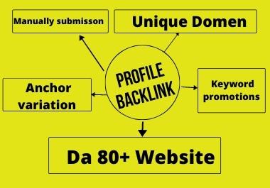 35 Social Profile Backlink DA 80+ top ranking your website