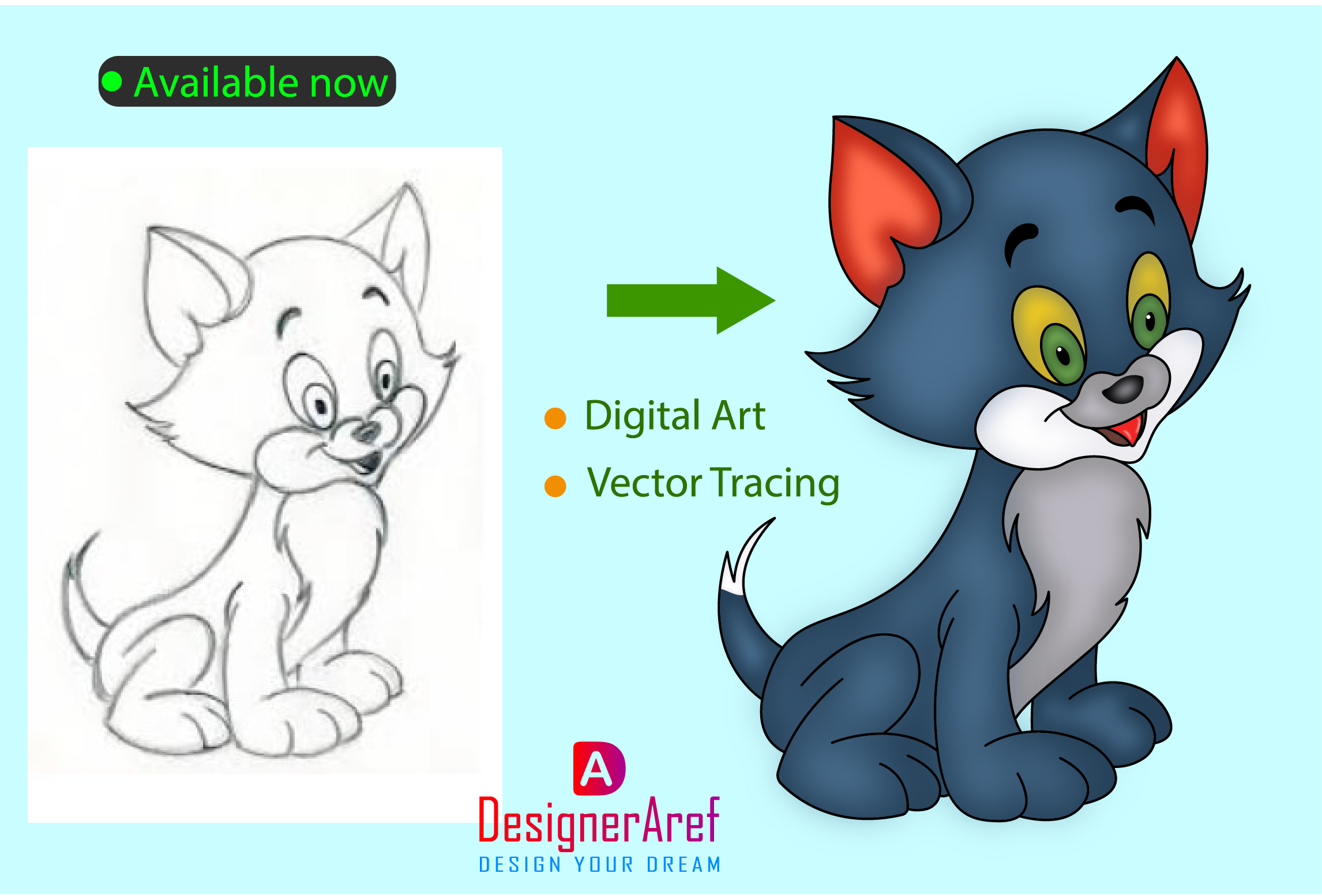 I will convert hand drawing into digital art and vector tracing