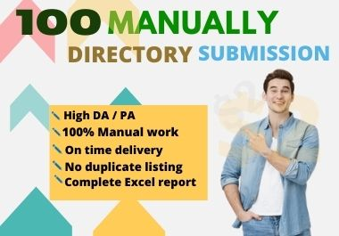I will do 100 High-Quality Directory Submission Manually.