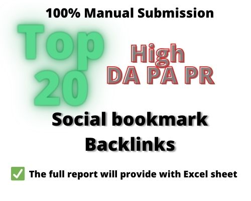 I will create top 20 social bookmark backlinks manually