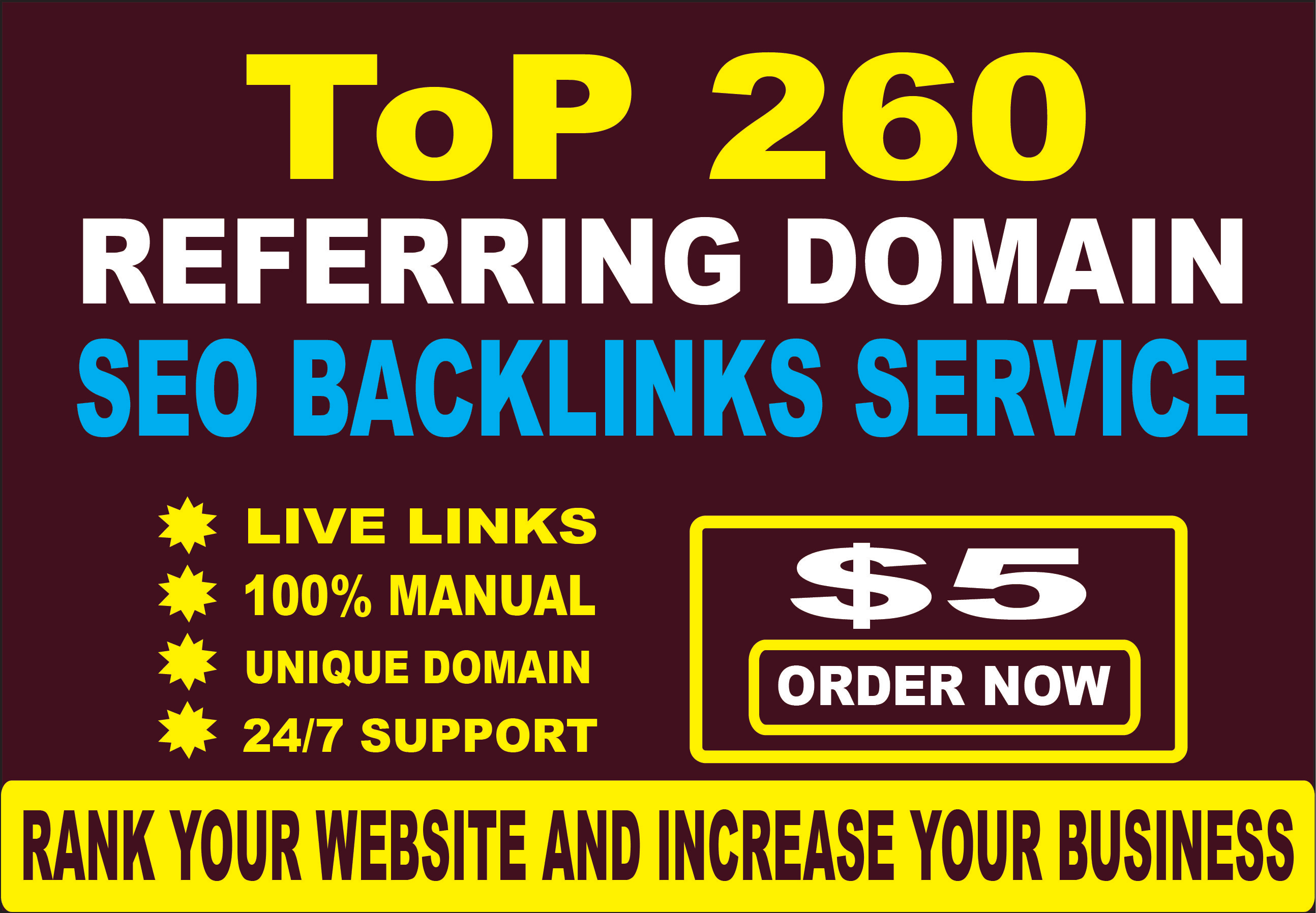 build 260 referring domain SEO backlinks for google ranking