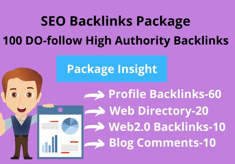 100 High Authority combine package of Profile Backlinks, Web2.0, Blog comments