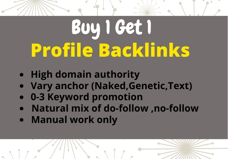 I will create 50 High Quality Profile Backlinks manually