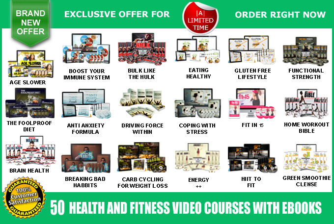Offer 50 Health and Fitness Video Course Pack - V3 + 10 Audio Books,  100 Latest eBooks as a Bonus