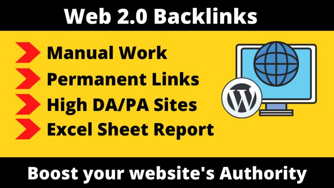 I will build 10 high quality Web 2.O Backlinks with high DA and PA