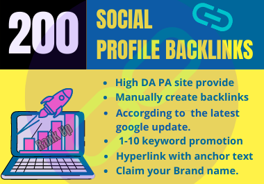 200 Unique Domain Social Profile Backlinks