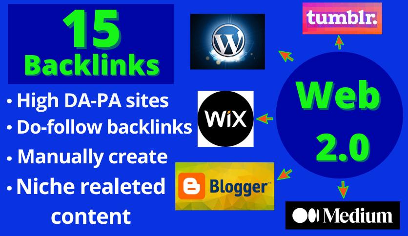 15 HQ Web 2.0 Backlinks From High DA Websites