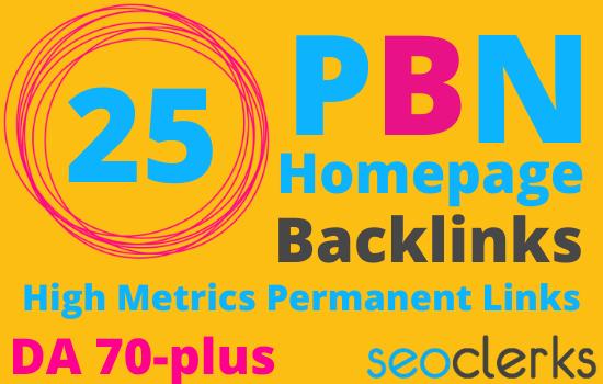 I will build 20 homepage DA 70 plus permanent PBN high quality backlinks
