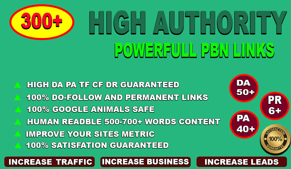 permanent 300 PBN DA50+ PA40+PR6+web 2.0 D0-follow backlinks 300 unique site