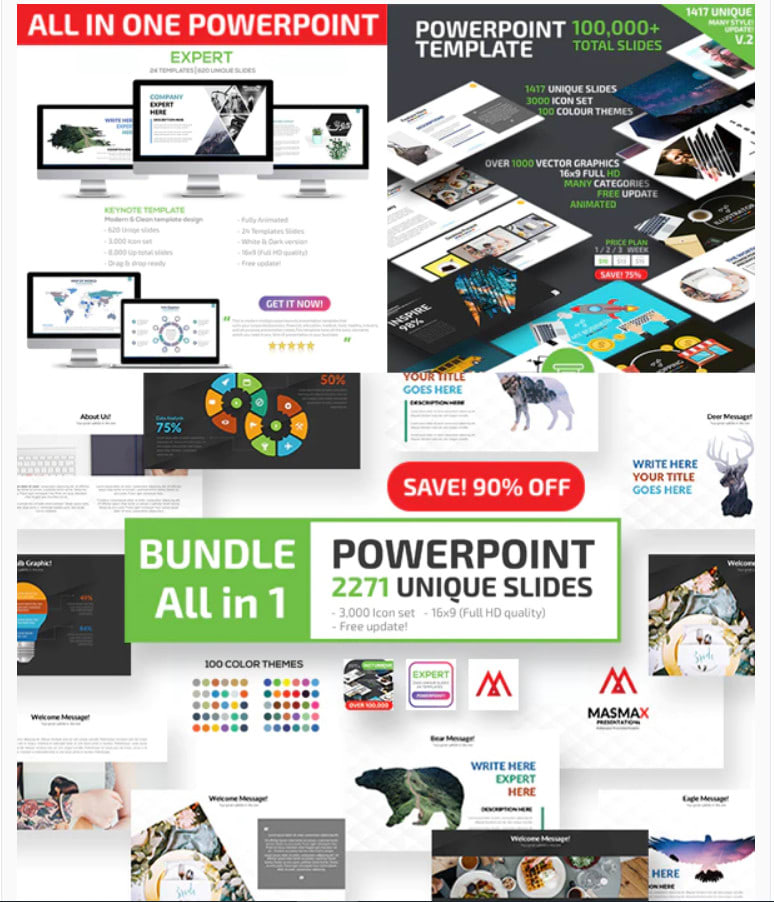 I will deliver 100 000 fhd slides 2500 powerpoint presentation design templates
