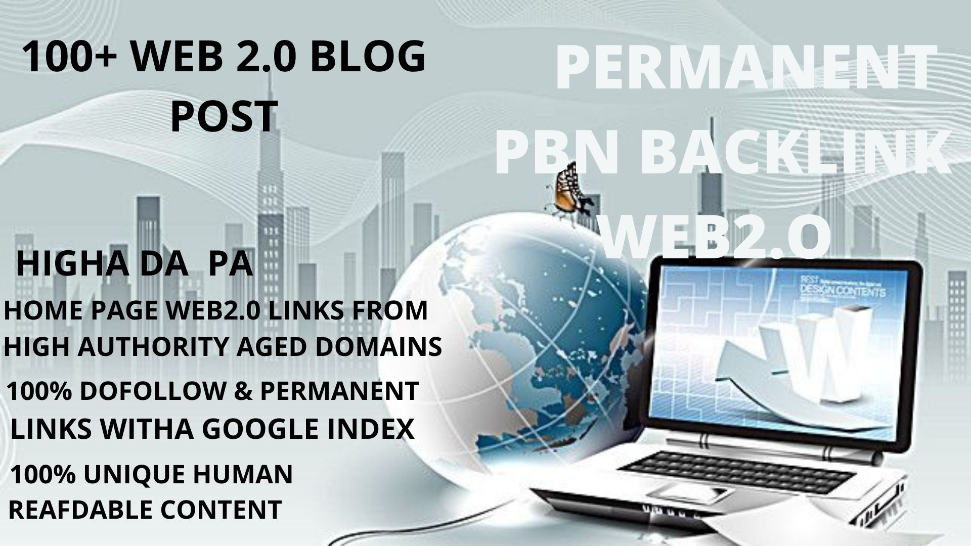 100+ permanant pbn backlink WEB2.O with 50+DA 50+PA in your homepage with unique website