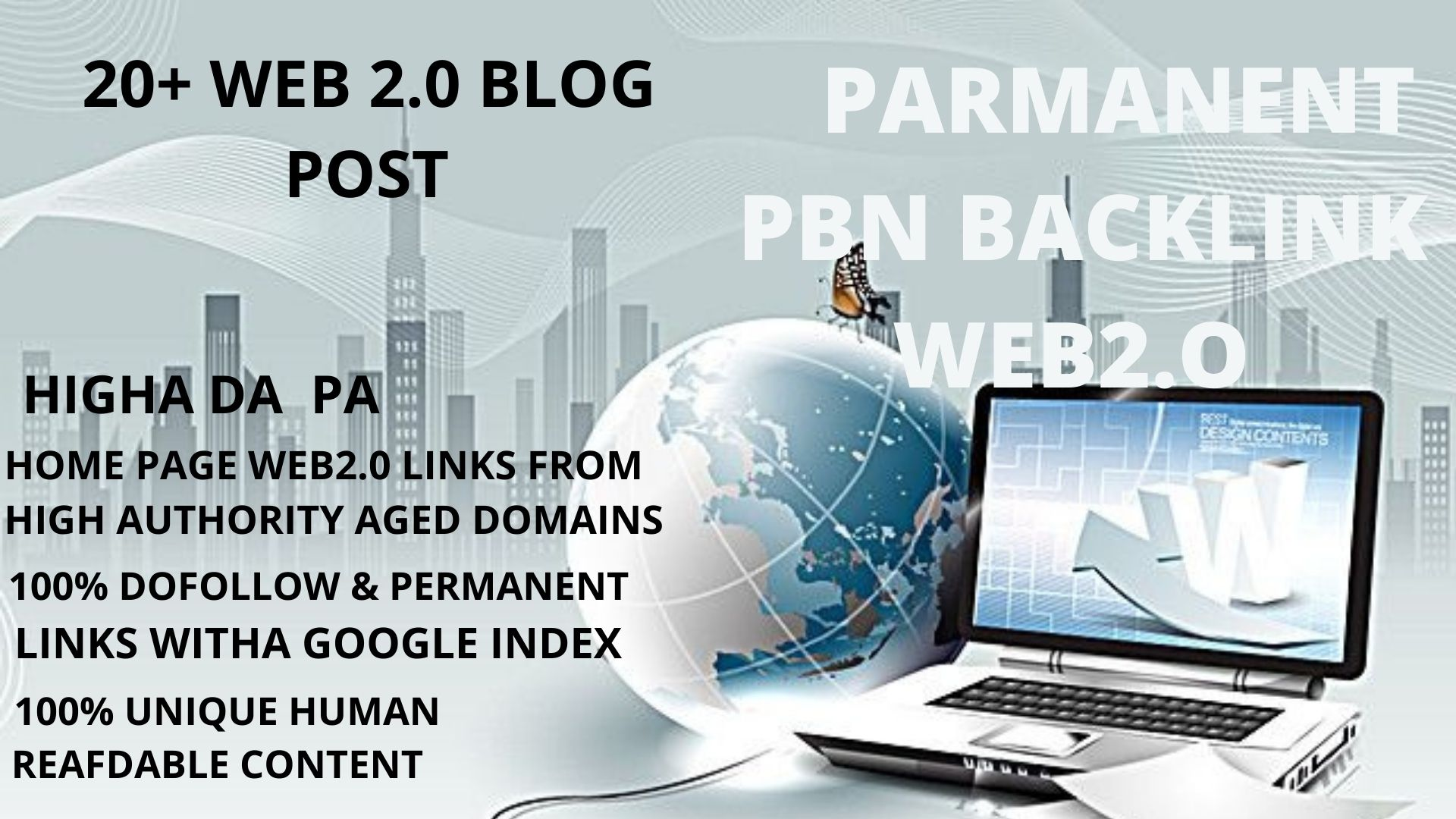 get 20+ pbn backlink WEB2.O with 50+DA 50+PA in your homepage with unique website