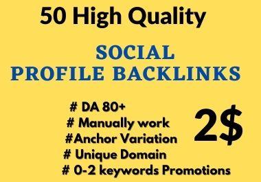 50 High DA Social Profile Backlinks Manually Create