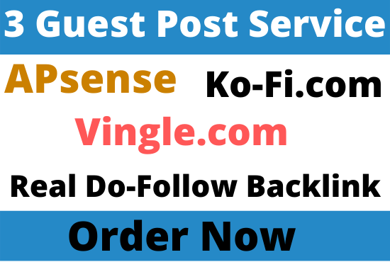 Write and Publish 3 Guest Post on Apsense, Vingle, Ko-Fi. com with do-follow backlink