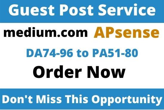 Write and Publish High Authority Guest Post medium. com,  Apsense. com