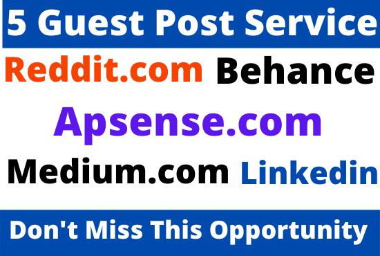 DA90+ Publish 5 Guest Post on Medium,  LinkedIn,  Behance,  Reddit,  Apsense