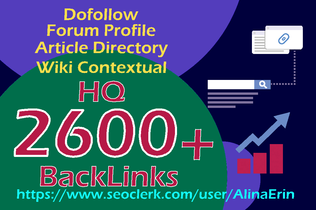 450 Dofollow 1050 Forum Profile 150 Article Directory 950 Wiki Contextual Backlinks Google Result