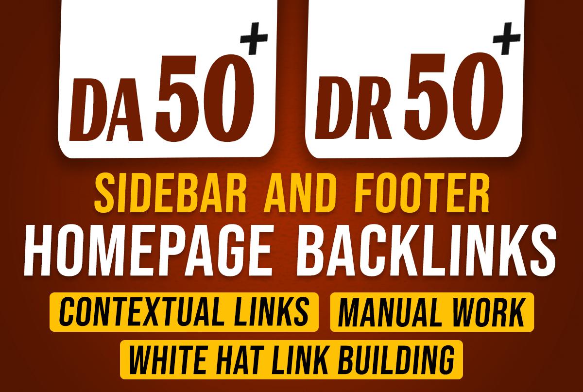 I will do 10 powerful high da seo dofollow footer & sidebar backlinks for off page seo