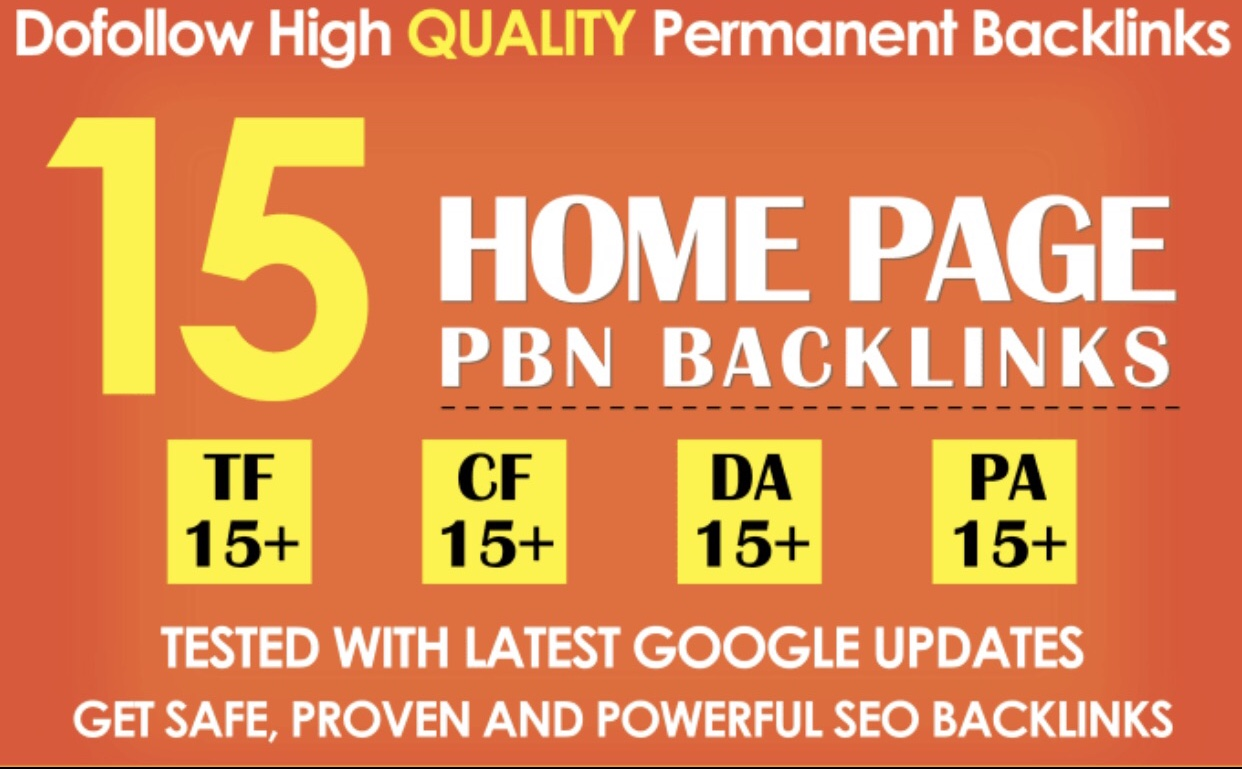 Create 15 High PA/DA TF/CF Homepage PBN Backlinks