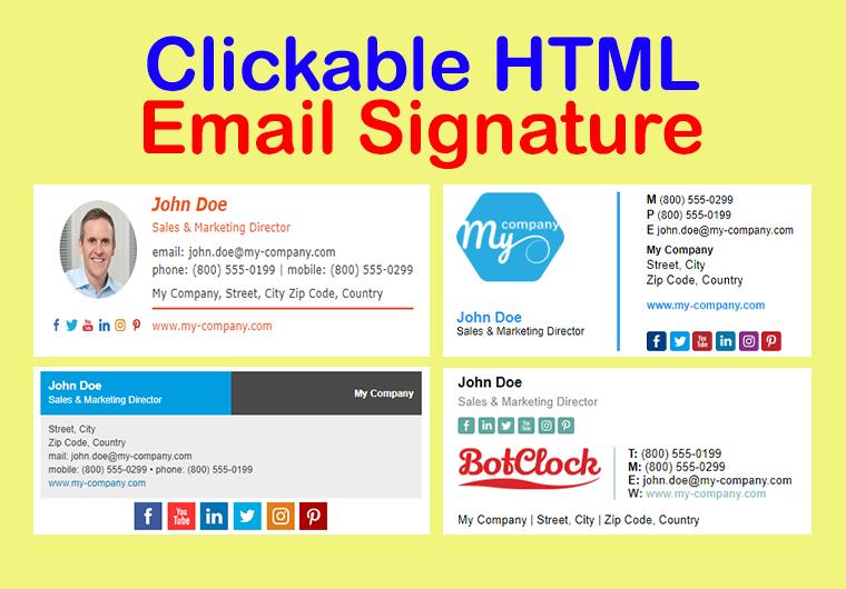 I will create smart,  unique clickable HTML email signature