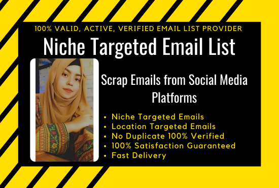 I will collect your 5000 Niche Targeted active and verified Email list for Email Marketing