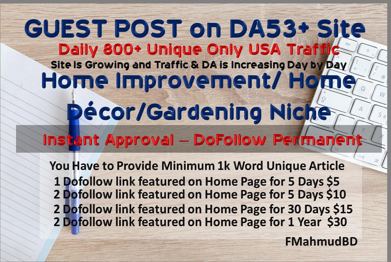 GuestPost on 3Sites DA56+ HomeImprovement HighAuthority NicheSite