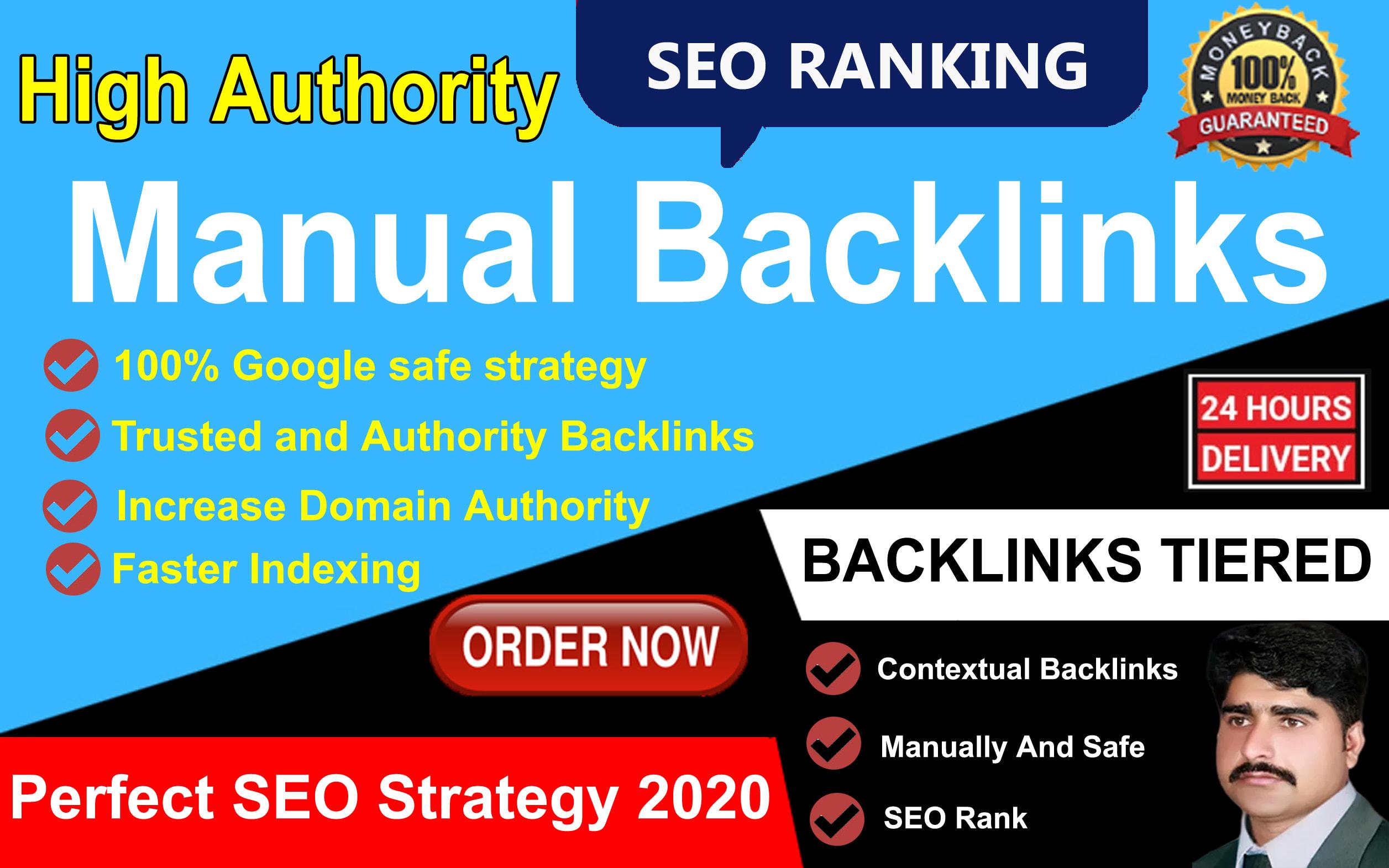 I will build high quality SEO backlinks from DA30 to DA100 sites manually