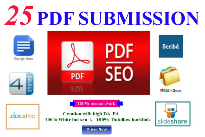 I will do 20 pdf submission in high da pa site