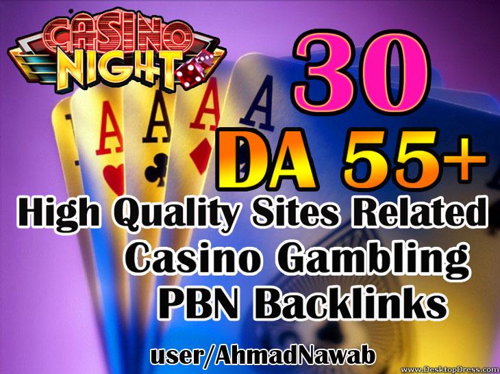 Get 30 DA 55+ plus Casino Gambling poker homepage pbn backlinks and judi related sites.