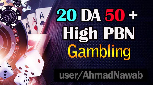 create 20 DA 50 plus homepage pbn backlinks on Casino/ Gambling/ Poker related sites.